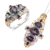Doorbuster Northern Lights Mystic Topaz, Orissa Rhodolite Garnet 14K YG and Platinum Over Sterling Silver Crown Style Ring (Size 9) and Pendant With Chain (20 in) TGW 8.82 cts.