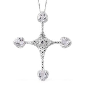 Lab Created White Sapphire Sterling Silver Cross Pendant With Stainless Steel Chain (20 in) TGW 2.00 cts.