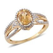 Brazilian Citrine 14K YG Over Sterling Silver Ring (Size 5.0) TGW 1.30 cts.