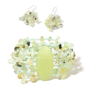 Prehnite, Green Serpentine, Green Glass Sterling Silver Bracelet (Stretchable) and Earrings TGW 240.00 cts.