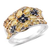 Yellow and Kanchanaburi Blue Sapphire 14K YG & Platinum Over Sterling Silver Ring (Size 7.0) TGW 3.36 cts.