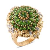 Russian Diopside, Cambodian Zircon 14K YG Over Sterling Silver Cocktail Ring (Size 10.0) TGW 6.30 cts.