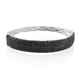 Thai Black Spinel Black Rhodium & Platinum Over Sterling Silver Cluster Bangle (7.25 in) TGW 9.90 cts.