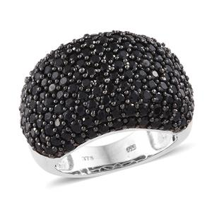 Thai Black Spinel Black Rhodium & Platinum Over Sterling Silver Dome-shaped Ring (Size 6.0) TGW 8.15 cts.