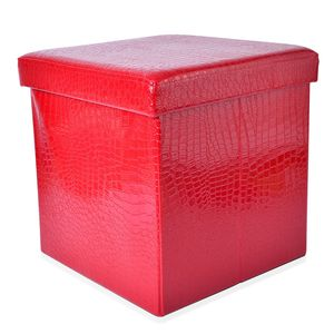 Doorbuster Red Faux Leather Collapsible Storage Bench (15x15x15 in)