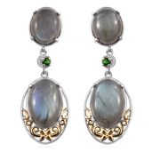 Malagasy Labradorite, Russian Diopside 14K YG and Platinum Over Sterling Silver Dangling Earrings TGW 20.96 cts.