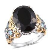 Australian Black Tourmaline, Electric Blue Topaz 14K YG and Platinum Over Sterling Silver Butterfly Band Ring (Size 9.0) TGW 15.70 cts.