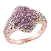 Madagascar Purple Sapphire, Cambodian Zircon 14K RG Over Sterling Silver Ring (Size 7.0) TGW 1.92 cts.