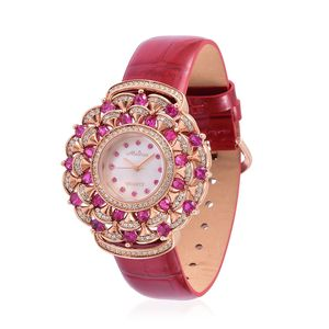 Simulated Pink and White Diamond Miyota Japanese Movement Water Resistant Watch in Rosetone with Red Leather Strap & Stainless Steel Back TGW 2.04 cts.