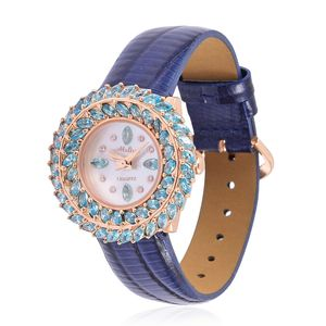 Simulated Blue and White Diamond Miyota Japanese Movement Water Resistant Watch in Rosetone with Blue Leather Strap & Stainless Steel Back TGW 1.28 cts.