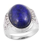 Lapis Lazuli, White Austrian Crystal Stainless Steel Men's Ring (Size 9.0) TGW 3.80 cts.