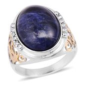 Sodalite, White Austrian Crystal ION Plated YG and Stainless Steel Men's Ring (Size 9.0) TGW 3.24 cts.