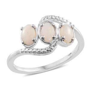 Australian White Opal Sterling Silver Trilogy Ring (Size 6.0) TGW 0.80 cts.
