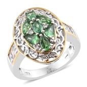 Emeraldine Apatite, White Topaz 14K YG and Platinum Over Sterling Silver Ring (Size 7.0) TGW 2.85 cts.