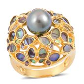 Tahitian Pearl (9-9.5 mm), Abalone Shell, Russina Diopside 14K YG Over Sterling Silver Ring (Size 8.0) TGW 0.25 cts.