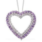 Madagascar Purple Sapphire, Cambodian Zircon Platinum Over Sterling Silver Heart Pendant With Chain (20 in) TGW 1.65 cts.