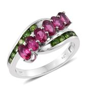 Ouro Fino Rubellite, Russian Diopside Platinum Over Sterling Silver Bypass Ring (Size 8.0) TGW 2.19 cts.