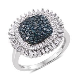 Blue Diamond (IR), Diamond Platinum Over Sterling Silver Cluster Ring (Size 7.0) TDiaWt 1.00 cts, TGW 1.00 cts.