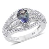 Peacock Tanzanite (2A), Cambodian Zircon Platinum Over Sterling Silver Ring (Size 9.0) TGW 2.55 cts.