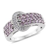 Madagascar Purple Sapphire, Cambodian Zircon Platinum Over Sterling Silver Buckle Ring (Size 9.0) TGW 1.53 cts.