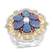 Australian Boulder Opal, Multi Gemstone 14K YG and Platinum Over Sterling Silver Flower Ring (Size 9.0) TGW 3.32 cts.