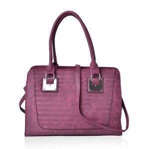 Burgundy Stripe Embossed Faux Leather Tote Bag with Removable Strap (48in) (13.5x5x10 in)