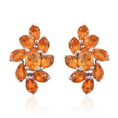 Salamanca Fire Opal Platinum Over Sterling Silver Cluster Stud Earrings TGW 2.75 cts.
