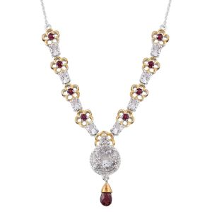Petalite, Orissa Rhodolite Garnet, Cambodian Zircon 14K YG and Platinum Over Sterling Silver Necklace With Chain (18 in) TGW 8.43 cts.