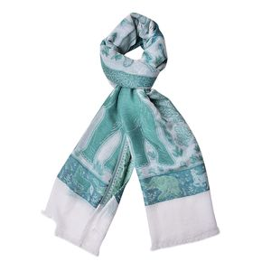 Green Anilmal Pattern 100% Acrylic Scarf (27.55x75.59 in)