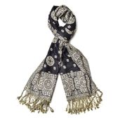 Black and Tan 100% Viscose Reversible Aboriginal Pattern Scarf with Yellow and Black Fringes (72x24 in)
