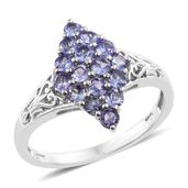 Tanzanite Platinum Over Sterling Silver Ring (Size 6.0) TGW 1.05 cts.