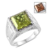 Alexite, Cambodian Zircon Platinum Over Sterling Silver Men's Ring (Size 13.0) TGW 9.10 cts.