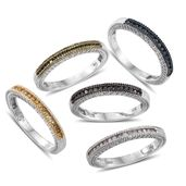 One Day TLV Multi Color Diamond (Natural & IR) Multi Rhodium & Platinum Over Sterling Silver Stackable Channel Rings (Size 6) TDiaWt 0.75 cts, TGW 0.75 cts.