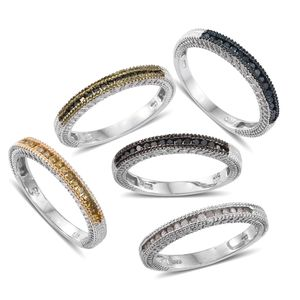 Set of 5 Multi Color Diamond (Natural & IR) Multi Rhodium & Platinum Over Sterling Silver Stackable Channel Rings (Size 9) TDiaWt 0.75 cts, TGW 0.75 cts.
