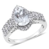 Petalite, Cambodian Zircon Platinum Over Sterling Silver Ring (Size 9.0) TGW 3.55 cts.