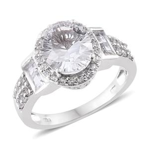 Petalite, White Topaz Platinum Over Sterling Silver Ring (Size 8.0) TGW 4.74 cts.