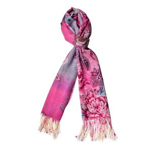 Pink Floral Pattern 100% Wool Scarf with Braided Tasles (25.59x74.81 in)