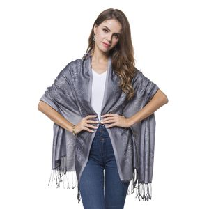 Gray and Black 100% Polyester Reversable Baroque Pattern Scarf with Fringes (70x28 in)