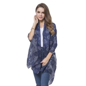 Navy Blue 3D Rose Pattern 100% Polyester Reversible Shawl Wrap or Scarf (74x27.5 in)