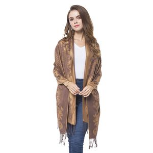 Camel Baroque Pattern 100% Polyester Scarf (27.55x77.96 in)