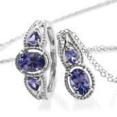 Tanzanite Platinum Over Sterling Silver Ring (Size 6) and Pendant With Chain (20 in) TGW 1.98 cts.