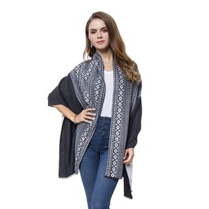 Black and White Santa Fe Pattern 100% Viscose Reversible Shawl (24x73 in)
