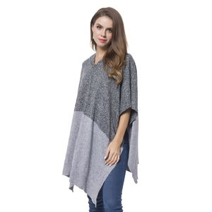 Black and Gray 100% Acrylic Block Pattern Hooded Poncho (One Size)