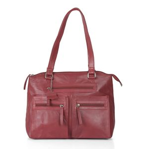 Red Genuine Leather RFID Shoulder Bag (13.25x5.5x11 In)