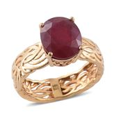 Niassa Ruby 14K YG Over Sterling Silver Openwork Band Ring (Size 10.0) TGW 7.15 cts.