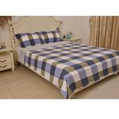 Blue Checkered Pattern Microfiber Duvet Cover (90x90 in) and Set of 2 Sham