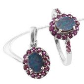 Australian Boulder Opal, Orissa Rhodolite Garnet Platinum Over Sterling Silver Ring (Size 9) and Pendant With Chain (20 in) TGW 3.40 cts.