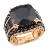 Thai Black Spinel Black Rhodium, 14K YG Over Sterling Silver Ring (Size 8.0) TGW 16.73 cts.