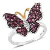 Ouro Fino Rubellite, Diamond Accent 14K YG and Platinum Over Sterling Silver Butterfly Ring (Size 7.0) TGW 1.42 cts.