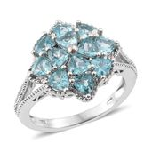 Madagascar Paraiba Apatite Platinum Over Sterling Silver Flower Ring (Size 9.0) TGW 2.76 cts.